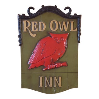Vintage Metal Red Owl Inn Sign