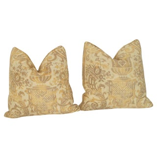 Vintage Fortuny Carnival Pattern Pillows - A Pair