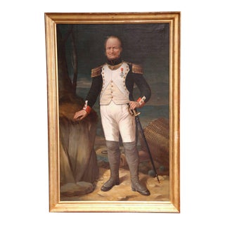 Large Mid-19th Century Oil Painting of a French Officer in Gilt Frame