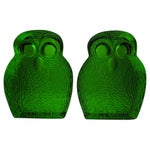 Image of Mid-Century Glass Owl Bookends