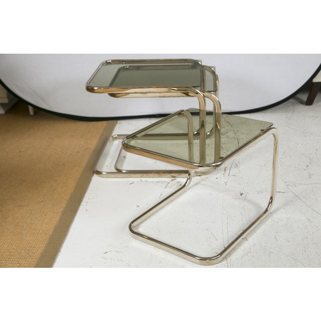 White Gold Finish & Glass Nesting Tables - A Pair - Image 7 of 8