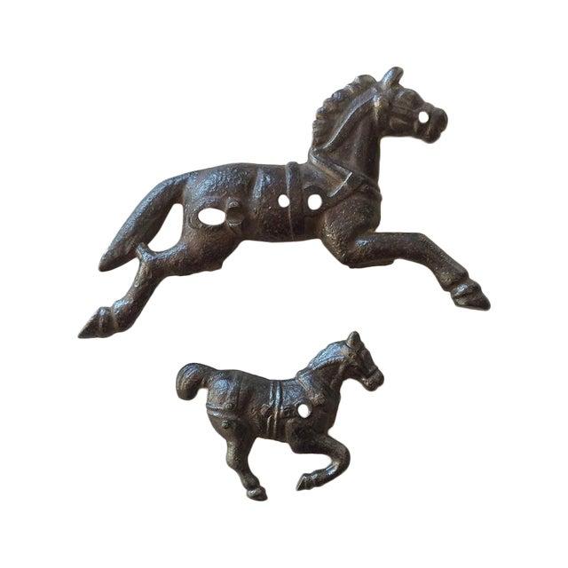 Image of Antique Cast Iron Toy Race Horses - Pair