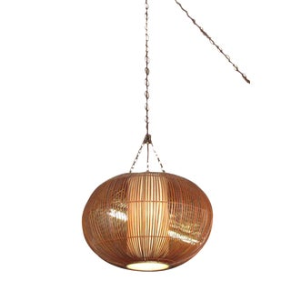 Vintage Mid-Century Rattan Ceiling Lamp