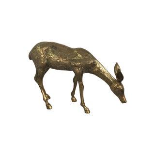 Mid-Century Large Brass Deer