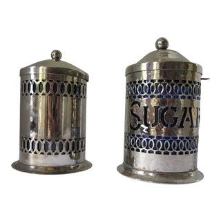 Vintage Silver-Plate Canisters- A Pair