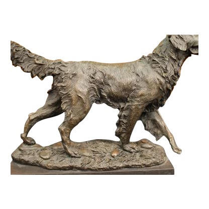 Golden Retriever Bronze Sculpture on Marble Base Figurine - Image 1 of 6