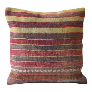 Turkish Kilim Striped Wool Pillow Cover