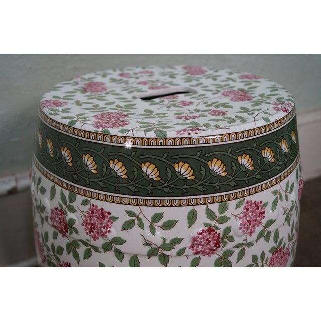 Vintage Floral Pattern Pottery Garden Seat - Image 4 of 10