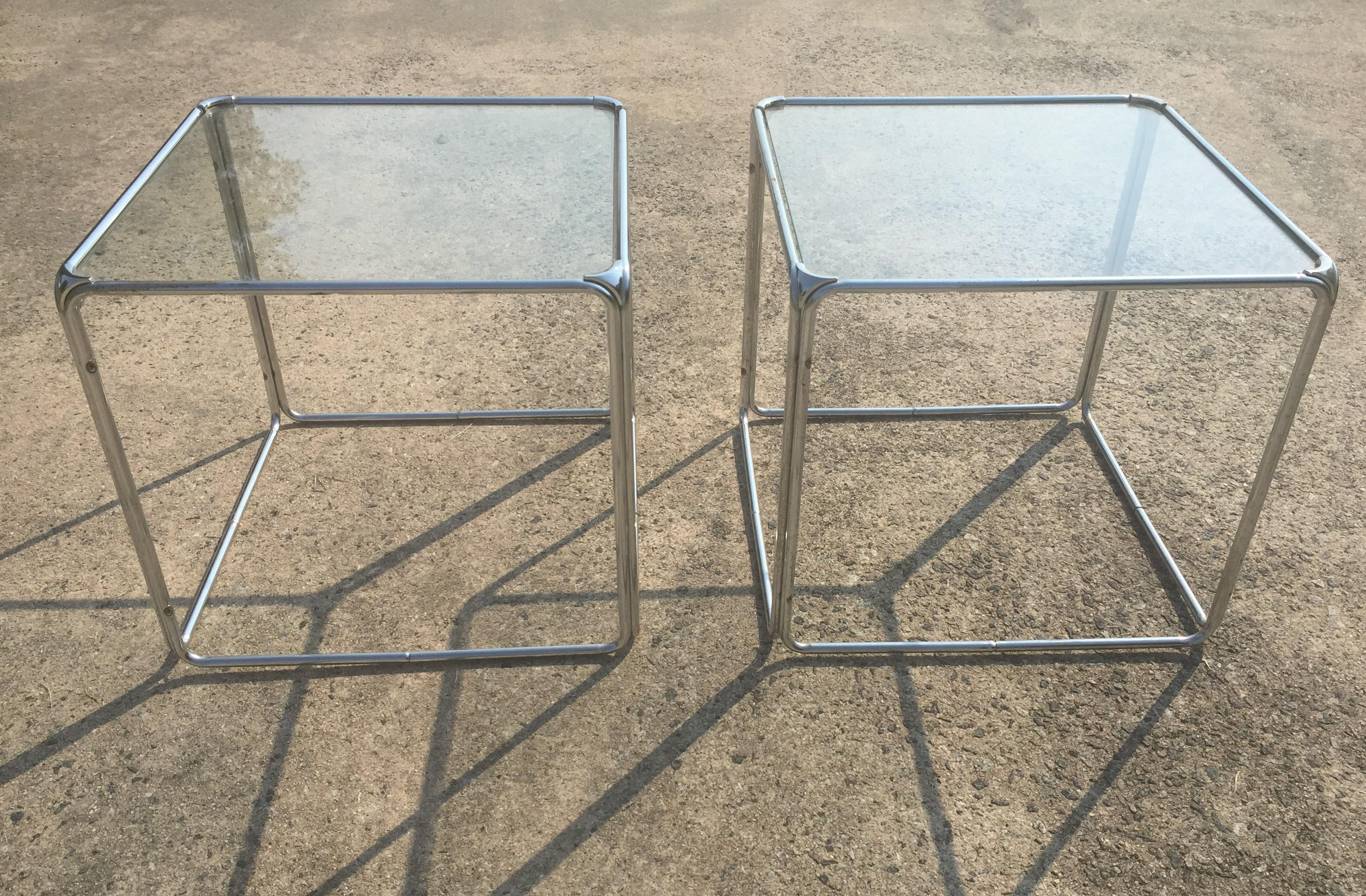 Set Of 2 MCM Milo Baughman Stackable Chrome Cube End Tables Coffee Table    Image 2