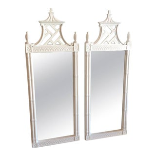 Vintage Chinese Chippendale Pagoda Faux Bamboo Wall Mirrors - A Pair