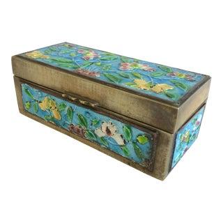 Vintage Chinese Enameled Brass Trinket Box