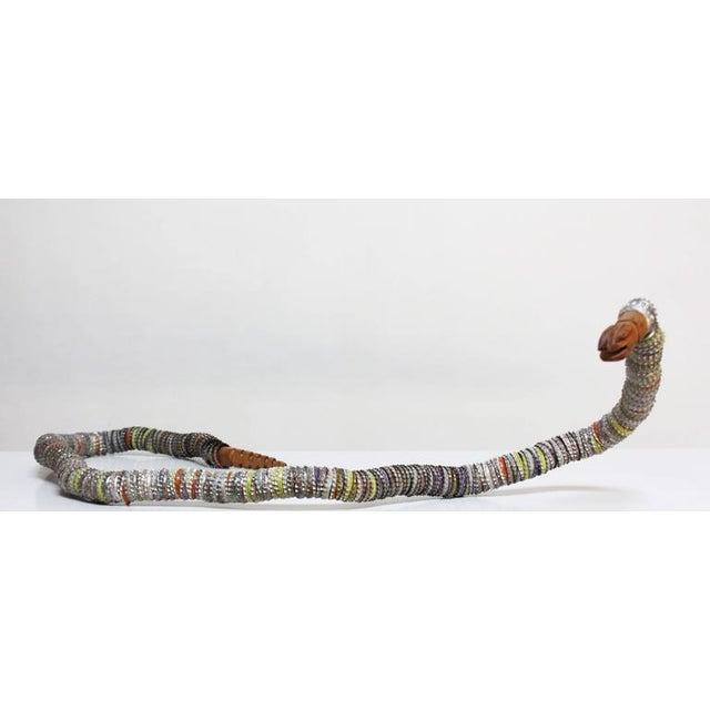 Folk Art Carved Wood and Bottlecap Snake after Felipe Archuleta - Image 2 of 10
