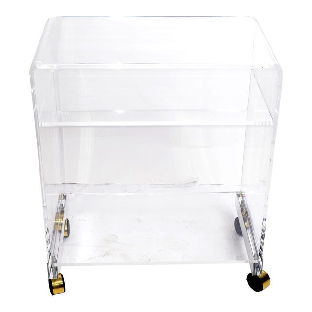 Mirrored Lucite Side Table On Casters