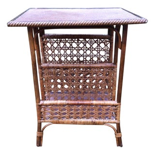 Vintage Cane Rattan Divided Side Table