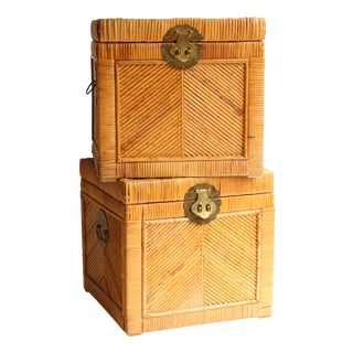 Asian Rattan Storage Cubes - Pair