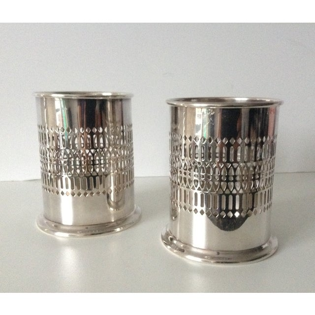 Image of Sheffield Silver Co. Wine Bottle Holders - A Pair