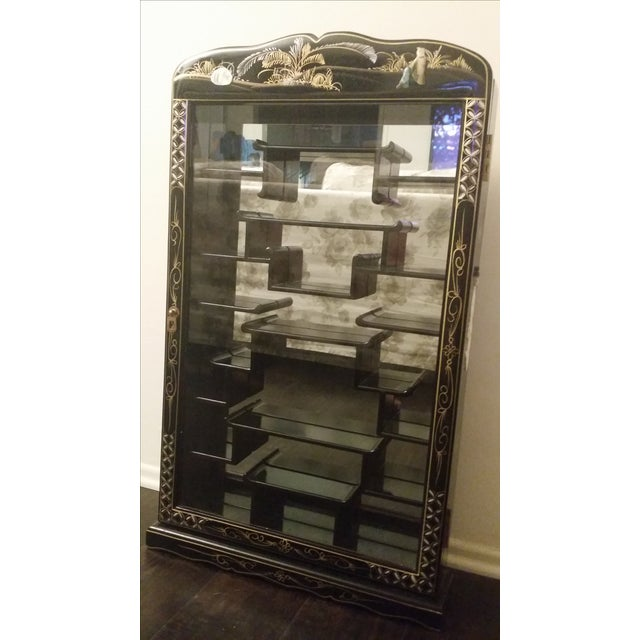 Black Lacquer Chinese Curio Display Cabinet - Image 6 of 6