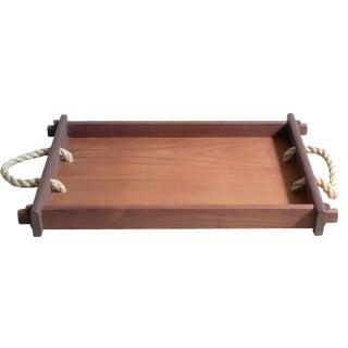 Mid-Century Teak & Rope Tray