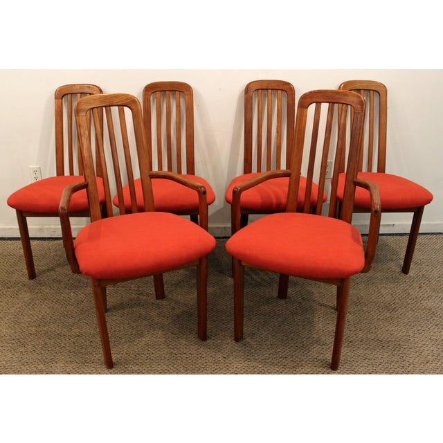Set of 6 Mid-Century Danish Modern Ansager Mobler Spindle Teak Dining Chairs - Image 2 of 11