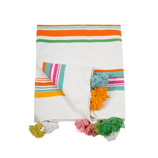 Moroccan Multicolored Pom Pom Queen Size Blanket