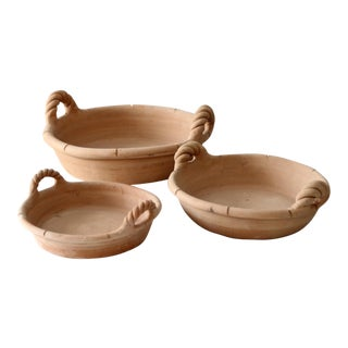 Vintage Terra Cotta Shallow Bowls - Set of 3