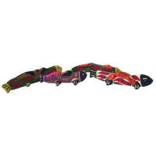 Mexican Hand-Made Standing Maraca Fishes - S/4