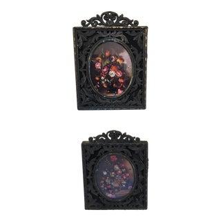 Italian Brass Frame Oval Prints - a Pair