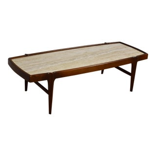 Mid Century Modern Walnut & Travertine Coffee Table