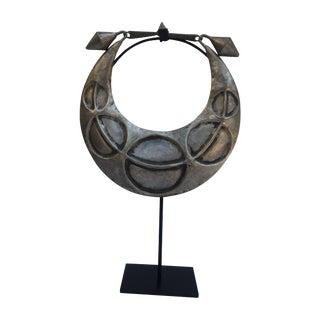 Vintage Tribal Metal Necklace on Black Stand