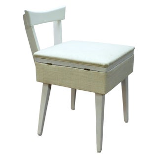 Mid-Century Modern White Sewing Box Chair