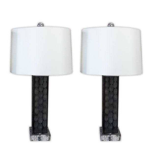 Image of Allan Knight Etched Glass Table Lamps - A Pair