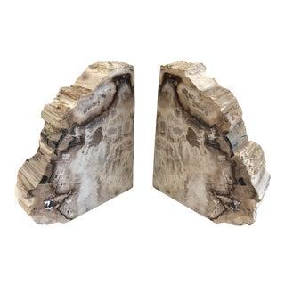 Modern Petrified Wood Bookends - A Pair