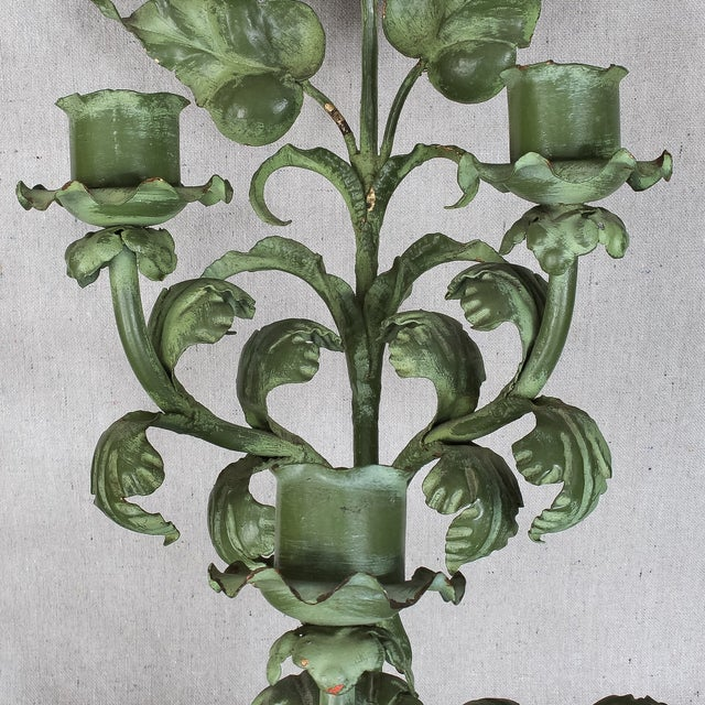 Italian Baroque Green Gilt Candelabra/Wall Sconce - Image 3 of 8