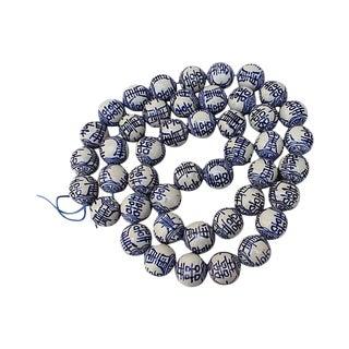 Blue & White Chinese Porcelain Beads - Set of 50