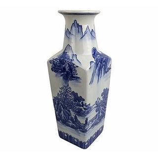 Chinoiserie Blue & White Landscape Vase