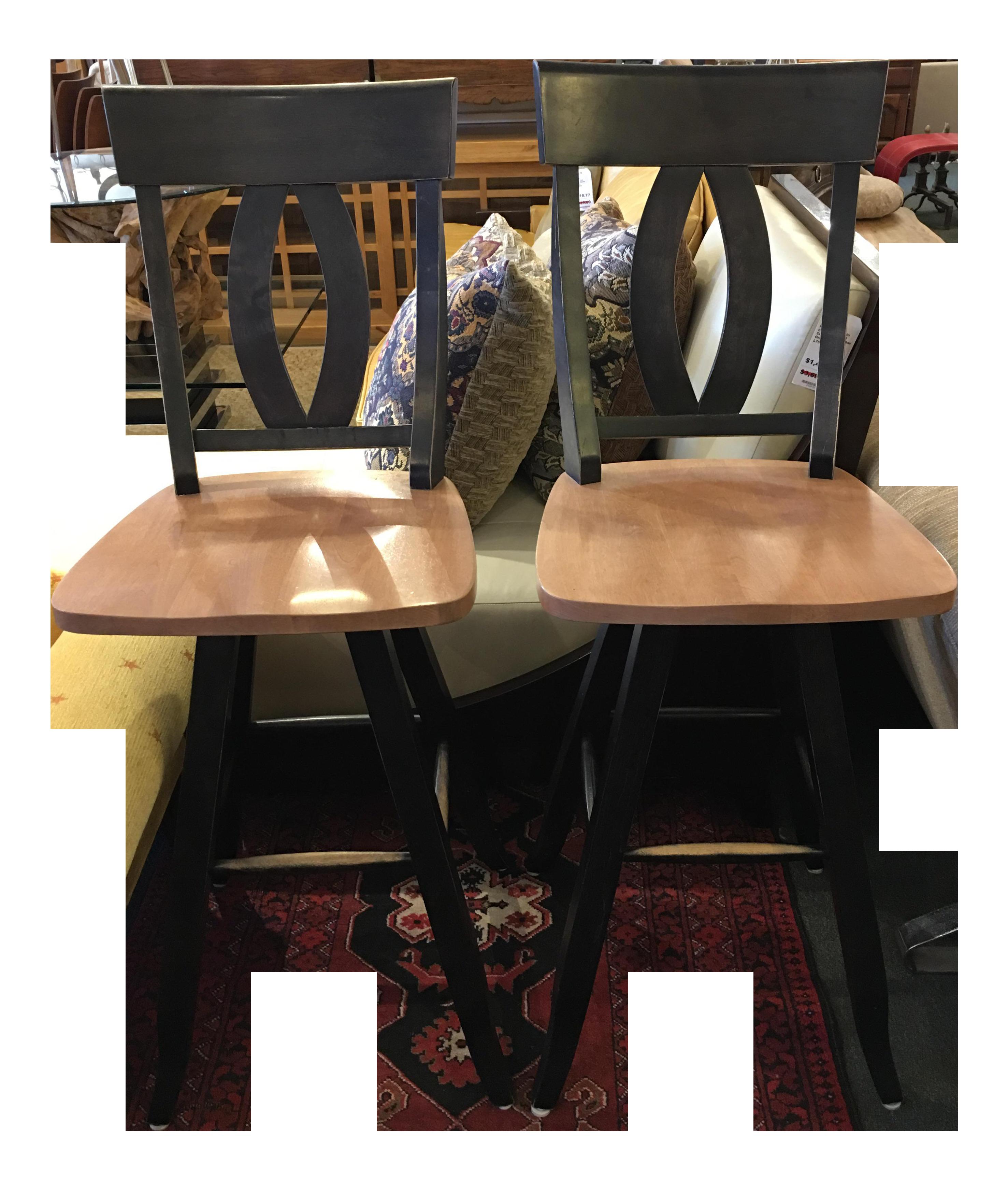 Black Wash And Natural Wood Swivel Barstools A Pair