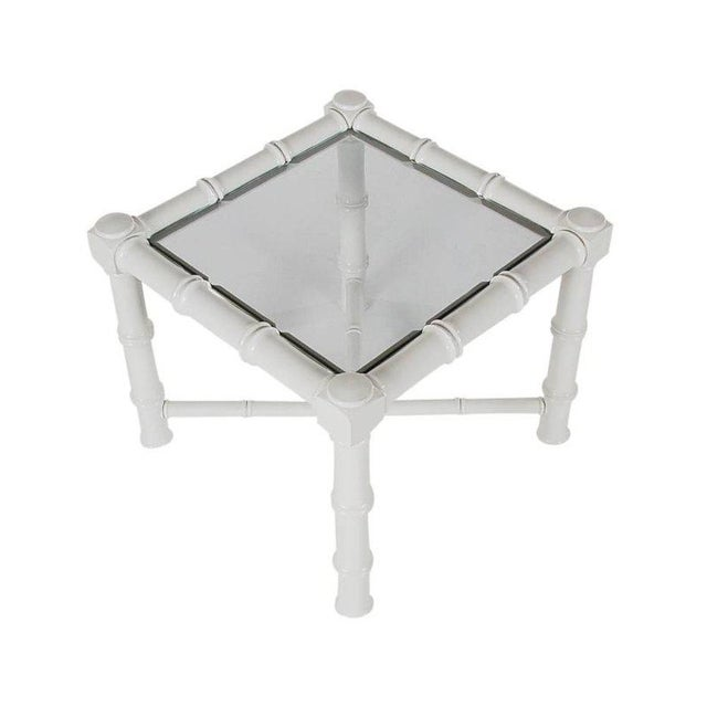 White Faux Bamboo Chinoiserie Tables - A Pair - Image 5 of 6