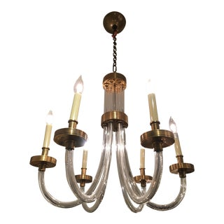 Burnished Brass & Crystal Eight Light Chandelier