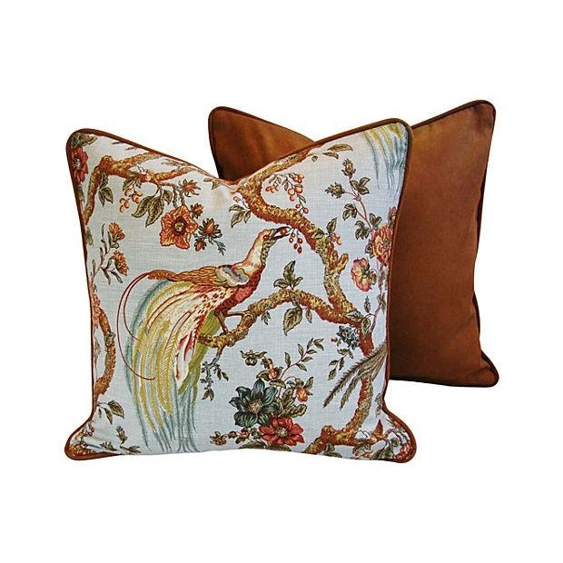 Custom Exotic Chinoiserie Fowl Pillows - Pair - Image 4 of 7