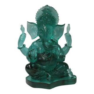 Crystal Glass Liuli Pate-de-Verre Teal Green Elephant God Ganesh Statue