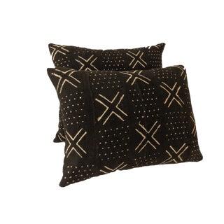 African Mud Cloth Black & White Pillows - a Pair