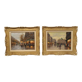 A Pair of Parisian Street Scene Paintings, 1900s