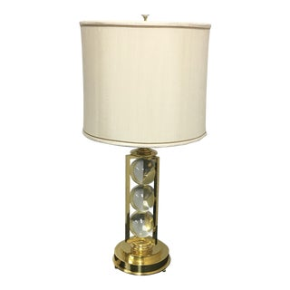 New Maitland Smith Brass & Glass Table Lamp With Custom Shade