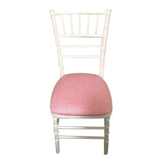 White Bamboo & Pink Leopard Fabric Chair