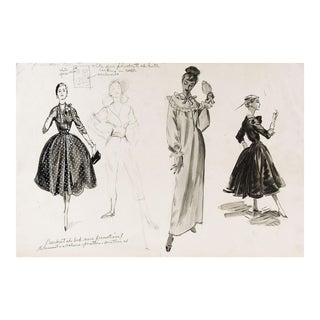 1950's Fashion Drawing Studies