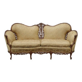 Antique French Rococo Settee Provincial Louis XVI Ornately Carved Tan Sofa