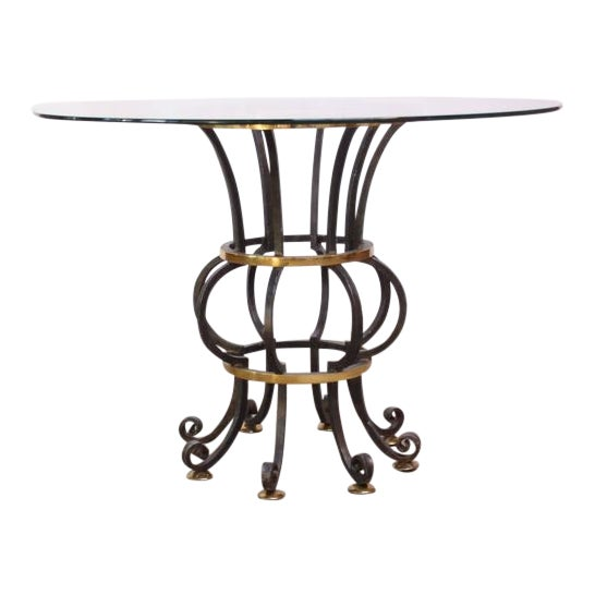 Hollywood Regency Style Brass and Steel Center Table after Maitland-Smith - Image 1 of 9
