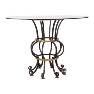 Hollywood Regency Style Brass and Steel Center Table after Maitland-Smith