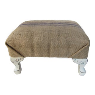 Vintage Shabby Chic Coffee Sack Footstool