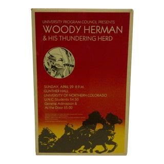 """1980 Vintage """"Woody Herman & His Thundering Herd"""" Concert Poster"""